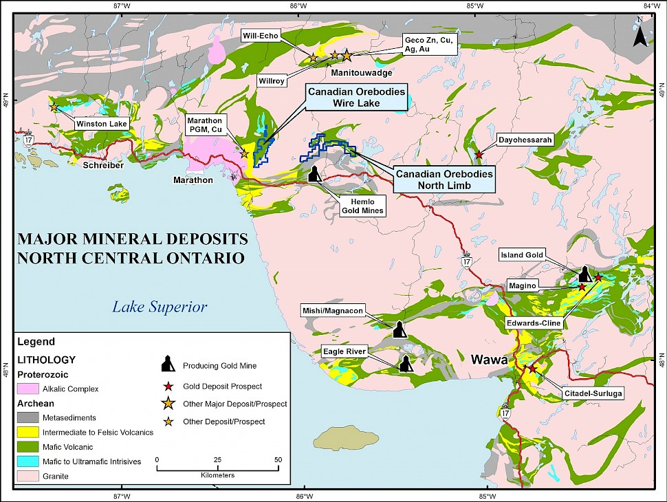 Major Mineral Deposits of North Central Ontario